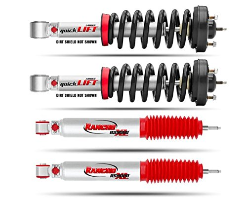 Rancho Suspension QuickLIFT Loaded Strut and Shock Kit For Toyota Tacoma 4WD 2005-12 - Includes Rancho Front Loaded Struts & Rear RS9000XL Shocks ()