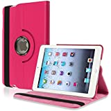 eForCity 360-Degree Swivel Leather Case for Apple iPad mini, Hot Pink (PAPPIPDMLC25)