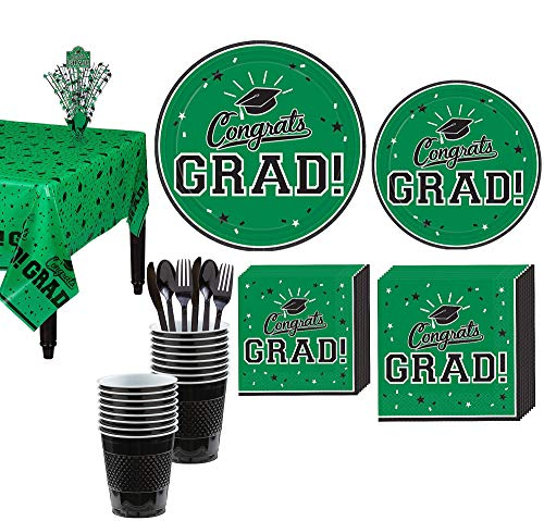(Party City Congrats Grad Green 2019 Graduation Decorations and Supplies for 18 Guests with Plates, Napkins and)