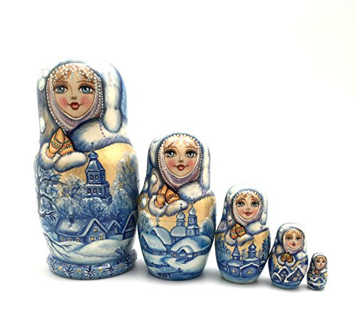 Unique One of the Kind Russian Nesting dolls ''Snow girl'' Hand Carved Hand Painted 5 piece set by BuyRussianGifts (Image #8)