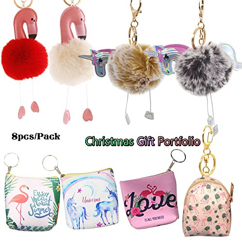 YoKII unicorn and flamingo fur ball keychain+ PVC coin purse combination for Christmas gifts (8pcs Portfolio)