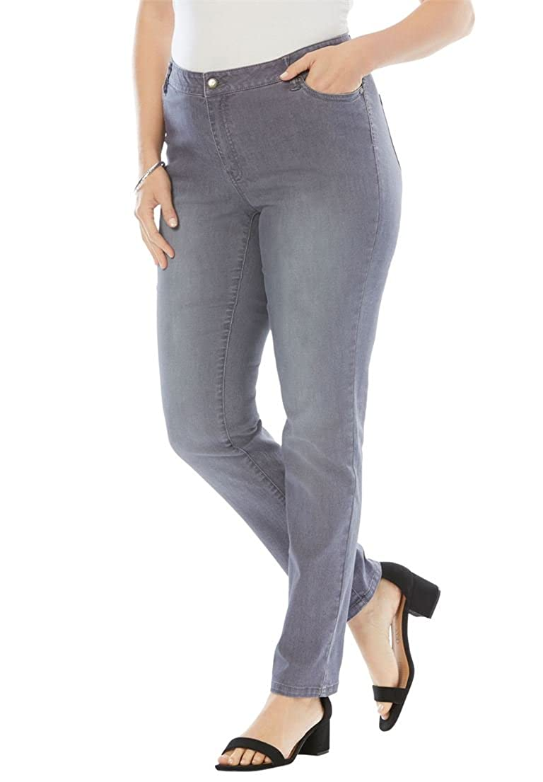 Women's Plus Size Petite Straight Leg Jean With Invisible Stretch Roaman's Denim 24/7