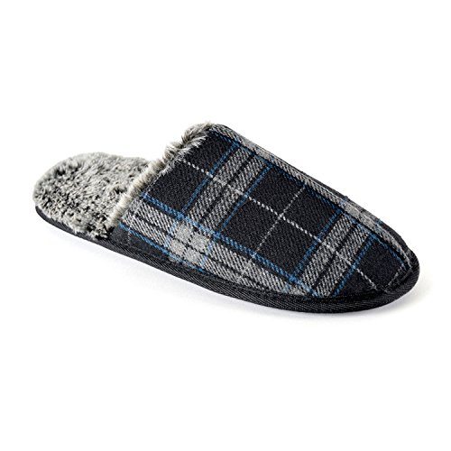 Mens/Gentlemens Footwear Checked Open Back Mule Slippers with Memory Foam Sole, Sizes Black