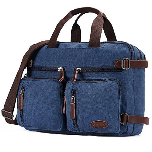 Vintage Canvas Backpack Laptop for Men Casual Bookbag for College (Blue) - 9