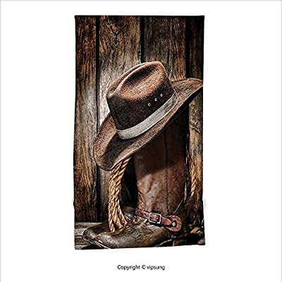 Vipsung Microfiber Ultra Soft Hand Towel-Western Decor Rodeo Dirty And Old Black Felt Hat Worn And Leather Working Rancher Boots Umber Brown For Hotel Spa Beach Pool Bath