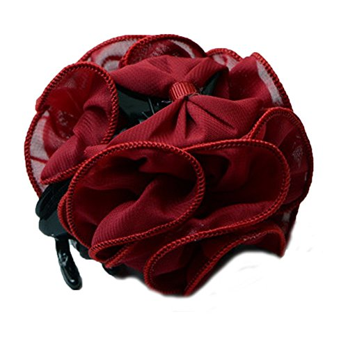 (Bgoodgirl Women's Rose Flower Bow Hair Clip Floral Hair Jaw Claw Clip Accessories Rose Red)