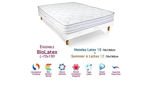 BioRelax Colchón de látex Conjunto de somier 18/12, 70 x 190 cm: Amazon.es: Hogar
