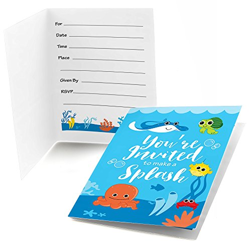 Big Dot of Happiness Under The Sea Critters - Fill in Birthday Party or Baby Shower Invitations (8 -
