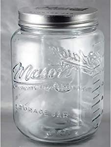 Grant Howard 51092 136 Ounce Classic Wide Mouthed Embossed Glass Mason Storage Jar Storage Container with Airtight Screw On Closing Lid