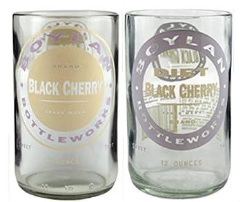 Set de 2 vasos de vidrio reciclado Boylan negro Cherry en caja de regalo