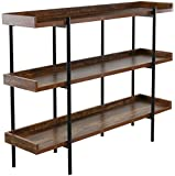 OneSpace 50-JN173SHLF Modern Wood and Steel 3-Shelf Display, Cherry