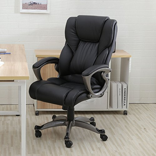 Eight24hours Black PU Leather High Back Office Chair Executive Task Ergonomic Computer Desk + FREE E-Book