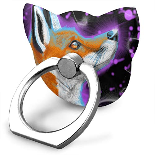 Ring Holder Fox Purple Space Cat Type Ring Cell Phone Stand Adjustable 360° Rotation Finger Grip Holder for IPad Phone X/6/6s/7/8/8 Plus/7, Galaxy S9/S9 Plus/S8/S7 Android Smartphone