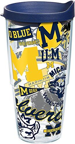 Michigan Wolverines Ncaa Tumbler - Tervis 1256598 NCAA Michigan Wolverines All Over Tumbler with Lid, 24 oz, Clear