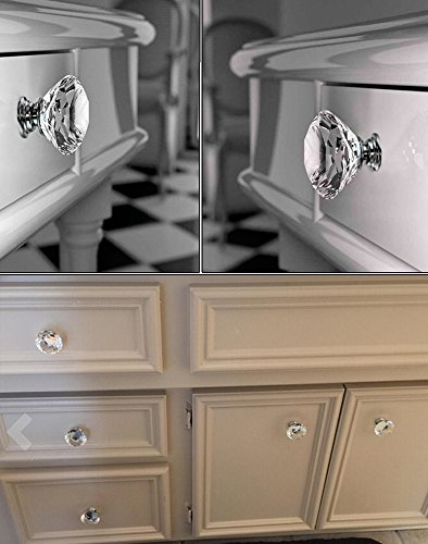 Sumnacon® 8 Pcs 50MM Clear Crystal Glass Door Knobs - Clear Diamond ...