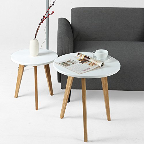 Asunflower Side Tables, Bamboo Coffee/Tea Round Tables Detachable Sofa End Table for Living Room White 51G5x1KOEXL