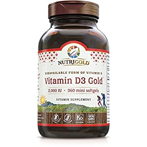 Nutrigold Vitamin D3 Gold (in Organic Olive Oil), 2000 IU, 360 softgels