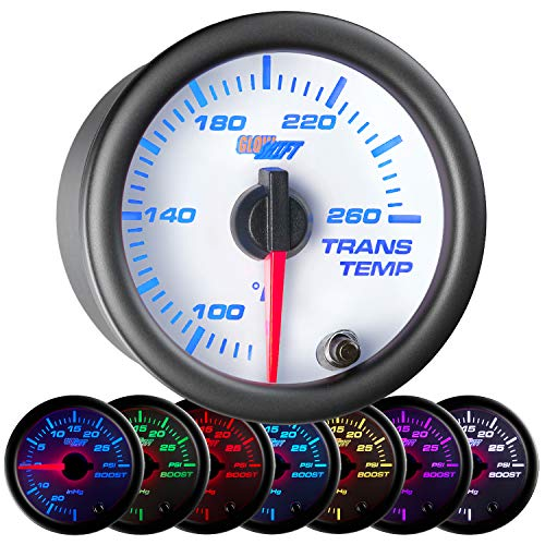 GlowShift White 7 Color 260 F Transmission Temperature Gauge Kit - Includes Electronic Sensor - White Dial - Clear Lens - for Car & Truck - 2-1/16