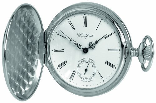 Woodford Swiss-Made Mechanical Full-Hunter Pocket Watch, 1061, Men's Chrome-Finished Separate Second-Hand Dial with Chain (Suitable for Engraving)