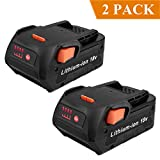 Biswaye 2 Pack 18V 4.0Ah Lithium Ion Replacement Battery for RIDGID 18V Drill R840087 R840083 R840086