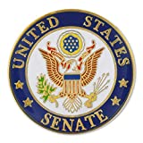 """United States Senate Seal Pin. 1"""" Die Struck from jewelers metal, with bold enamel colors, gold plated and epoxy coated. The seal of the United States Senate is the official seal to authenticate certain official documents. This seal also serves as a ..."""