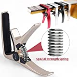 Professional Ukulele Capo, Colorful Creative Mini Size Trigger Style Uke Capo, Quick Change, Total Metal Material, Quality Steel Spring (Silver)