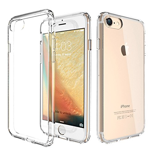 ATGOIN TPU Hybrid Shock Absorbing Clear Back Panel Bumper Case for Apple iPhone 7/iPhone 8(Clear)
