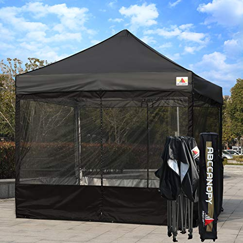 ABCCANOPY 10×10 Ez Pop up Canopy Party Tent with Netting Commercial Instant Gazebo with Screen Walls (Black) For Sale