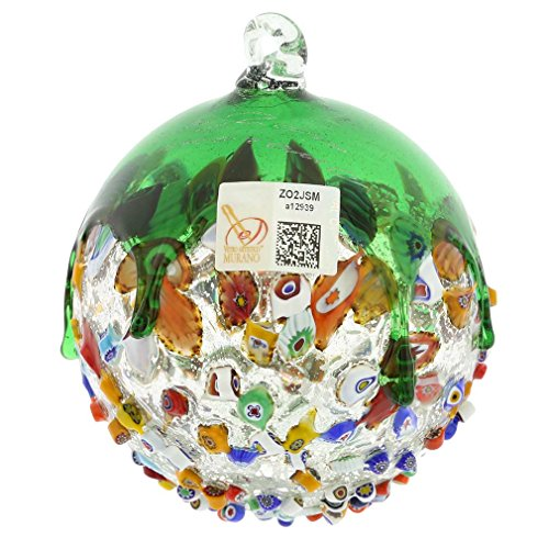 GlassOfVenice Murano Glass Venetian Mosaic Christmas Ornament - Green