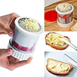 SUORONG Butter Mill Grater Shredded Spreads/Melts More Easily-Smooth Spreadable Bread Veggies Corn Cheese Slicer, Red+White