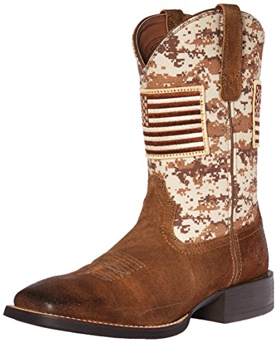 Ariat Men's Sport Patriot Western Cowboy Boot, Antique Mocha Suede, 8.5 2E US