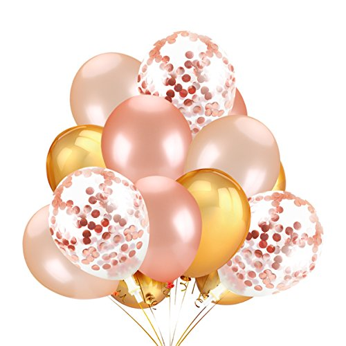 30 Pack Gold & Rose Gold & Champagne Gold Color Latex Party Balloons and 12 Pack 12 Inch Rose Gold Confetti Balloons,for Graduation Hawaii Wedding Birthday Party (30 Ballon)