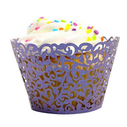 Wensltd 24pc New! Little Vine Lace Laser Cut Cupcake Wrapper Liner(pack of 24) (Purple)