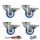 Mini Space 4 Pack of 2'' Swivel Caster Blue Polyurethane Wheels Base with Brake Top Plate Double Ball 800Lbs with Free Dual-Purpose Screwdriver