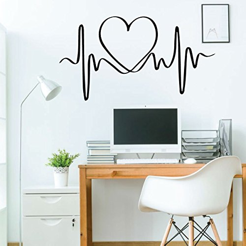 - Wall Decal for Girls - Heart Beat Decor - Vinyl Sticker for Children's Room or Playroom Decoration