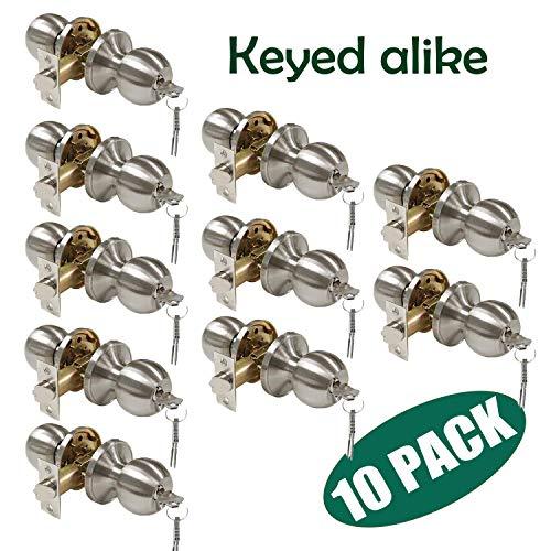 Probrico 10 Pack Keyed Alike Entry with Key Ball Door Knob Handles Entrance Door Lockset Satin Nickel Finished