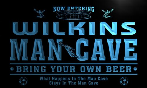 qd1485-b WILKINS Man Cave Soccer Football Bar Neon Beer Sign by AdvPro Name