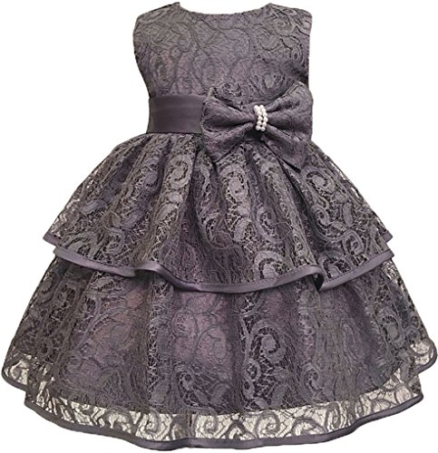 Applique Toddler Grey Lace Dress Pageant Christing Baby Girls Party Birthday LawLauder IwvFv