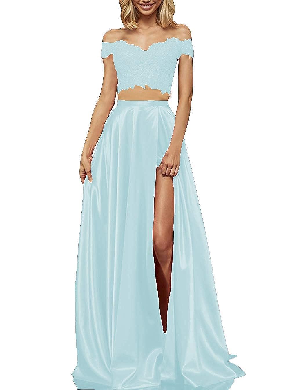 Sky bluee tutu.vivi Women's 2 Pieces Long Lace Satin Prom Dresses Off The Shoulder Party Evening Gown