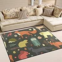 Aideess Forest Owl Deer Hedgehog Fox Non-Slip Area Rug Pad 7 x 5, Home Protect Indoor Floors Thick Rug Pad Making Vacuuming Easier