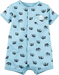 Baby Boys Elephant Snap up Cotton Romper