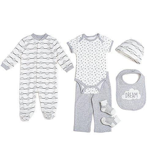 Piece Clouds Pajama Sleep Set Bodysuit Onesie Pants Hat Socks Bib Light Grey 3-6 MO. (3 Piece Print Onesie)