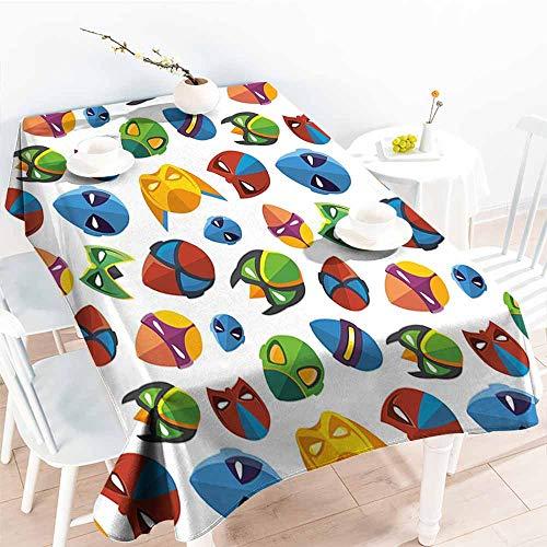 Onefzc Elastic Tablecloth Rectangular,Superhero Legendary Cartoon Character Masks Flash Batman Spider Man Comic Costume Print,High-end Durable Creative Home,W60X102L Multicolor]()