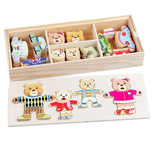 Sherry Wooden Jigsaw Puzzle 72 Pcs Kids Early Educational Toys Bear Family Dress-Up Puzzle Set (Bear)