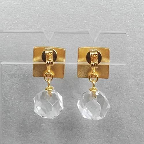 Ohrringe gold Bergkristall matt Ohrstecker h/ängend Silber 925