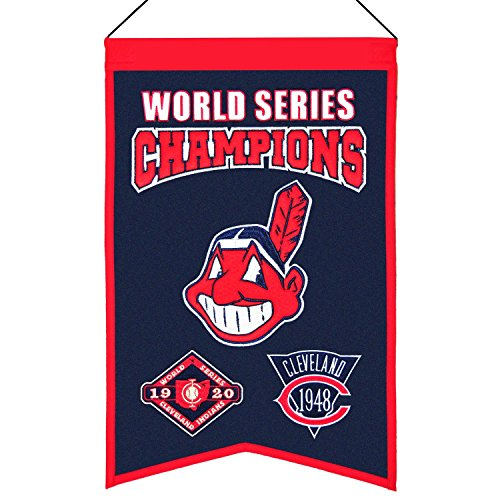 Winning Streak MLB Cleveland Indians WS Champions Banner, One Size (Cleveland Indians Mlb Applique)