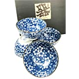 Made in Japan Blue Multi Pattern Glazed Ceramic Rice Meal Soup Dining Bowl Set 4.5