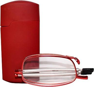 Image of uu19ee Gafas de Lectura Plegables Hombres Mujeres Mini diseño Gafas pequeñas Marco Gafas de Metal Negro con Caja Original