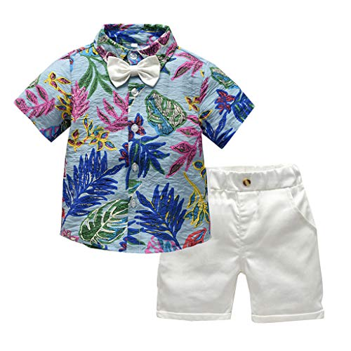 SIN vimklo Toddler Shorts Outfits Infant Baby Boys Short Sleeve Bow Tie Gentleman Leaf T-Shirt Tops+Shorts Beach Blue ()