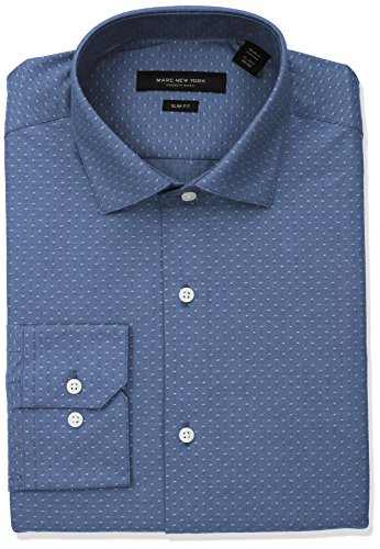 33 Wrinkle Free Dress Shirt (Marc New York Men's Slim Fit Diamond Dobby Dress Shirt, Midnight, 16-16.5 32-33)
